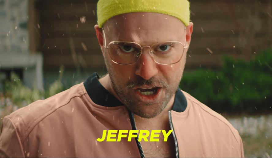 Jeffrey is using a sponge
